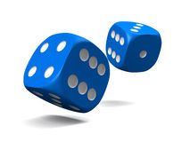 Blue dice. Thrown on a white background Stock Photo