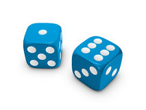 Blue dice on white background. Blue dice isolated on white background Stock Photo