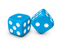 Blue dice on white background. Blue dice isolated on white background Royalty Free Stock Photography