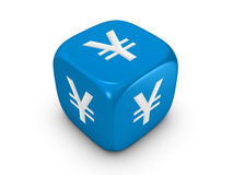 Blue dice with yen sign Royalty Free Stock Photography