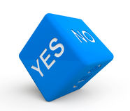 Blue dice with Yes and No sign. On a white background Royalty Free Stock Image