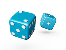 Blue Dices. Two blue dices with white dots on isolated white background Royalty Free Stock Photo