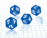 Blue dices with currency symbols. Four blue dices with currency symbols euro, dollar, yen, pound and question mark. Vector illustration Royalty Free Stock Photos