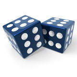 Blue dices. Two blue dices on white Royalty Free Stock Photo