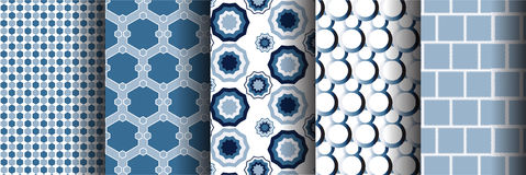 Blue different  seamless patterns Stock Photo