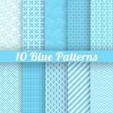 10 Blue different seamless patterns (tiling). Vector illustration for abstract aqua design Stock Photography