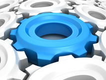 Blue different work cogwheelgear in white crowd connect Stock Photos