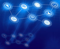 Blue Digital Background with communication Icons Stock Photos