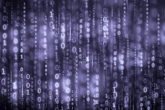 The blue digital binary code matrix background Stock Photography