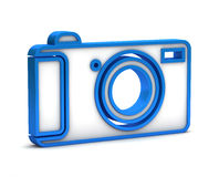 Blue digital camera icon Stock Images