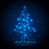 Blue digital Christmas tree Stock Photography