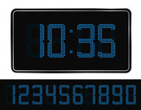 Blue Digital Clock Stock Photo