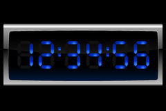 Blue digital clock Stock Photography