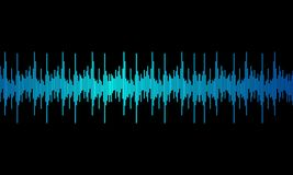 Blue digital equalizer audio sound waves on black background, vector illustration
