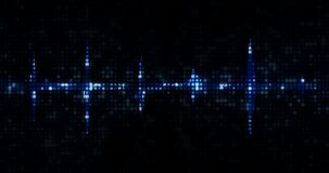 Blue digital equalizer audio spectrum sound waves on black background, stereo sound effect signal with vertical