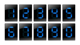 Blue digital number icons Royalty Free Stock Photos