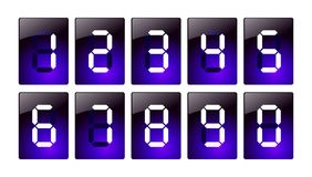 Blue digital number icons Royalty Free Stock Photography