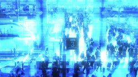 Blue digital signal glitch from train platform in Paris holomatrix. PARIS, FRANCE - CIRCA 2019: Hologram holomatrix digital glitch view over busy morning on the royalty free illustration
