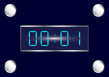 Blue digital watch. Electronic watch in dark blue with metallic trim Stock Photo