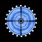 Blue Digital Wood Target. Illustration Royalty Free Stock Photos
