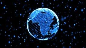 Blue Digital World Globe Loopable stock video footage