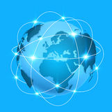 Blue digital world map with connection Stock Photo