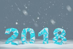 Blue 2018 digits date snow. Blue 2018 digits date against a black sky and snow background. Concept of planning and the new beginning. 3d rendering mock up Stock Images