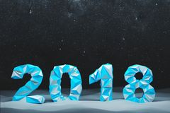 Blue 2018 digits date winter night. Blue 2018 digits date against a black night sky with stars. Concept of planning and the new beginning. 3d rendering mock up Stock Photo