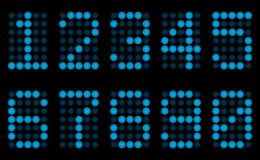 Blue digits for display. Royalty Free Stock Photos