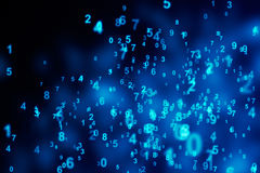 Blue digits selective focus. Computer generated abstract background Stock Images