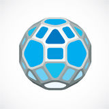 Blue dimensional  low poly object, ball. Technology 3d sph. Erical element made with rectangular facets for use as design form in engineering Stock Images