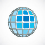 Blue dimensional vector low poly object, trigonometry shape. Tec Royalty Free Stock Photo