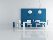 Blue dining room. Minimalist blue dining room with modern table and chair - rendering Stock Images