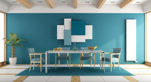Blue dining room Royalty Free Stock Images