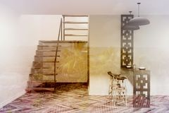 Blue dining room with stairs toned. Blue dining room interior with stairs, a wooden floor, a black table with stools. 3d rendering mock up double exposure toned Royalty Free Stock Photography