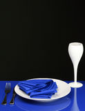 Blue Dinner Table Stock Photography