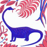 Blue dinosaur with coral and blue leaves on a white background stock illustration