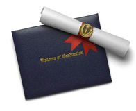 Blue Diploma Cover Torch Royalty Free Stock Photography