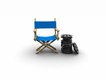 Blue Director chair. 3d simple Blue Director chair Royalty Free Stock Image
