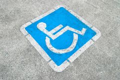 Blue disabled parking sign Royalty Free Stock Photo