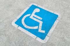Blue disabled parking sign Stock Images