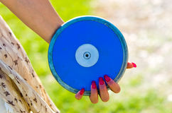 Blue disc ready to be launched Royalty Free Stock Image