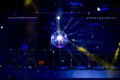 Blue disco background with mirror ball Stock Image