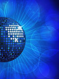 Blue disco ball and glowing background Royalty Free Stock Photos