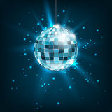 Blue Disco Ball with Light Rays. Glitter Shiny Background Stock Photography
