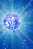 Blue disco ball with rays and glitters Stock Image