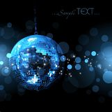Blue disco ball shining in the dark Stock Images