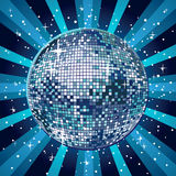 Blue disco ball. Sparkling disco ball in blue Royalty Free Stock Image