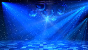 Blue Disco Dance Floor. With mirror balls, lattice circle and spot lights. 3d render stock illustration
