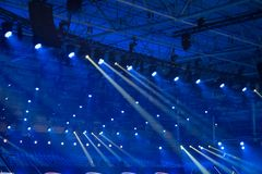 Blue disco lights. On a club stage royalty free stock photography